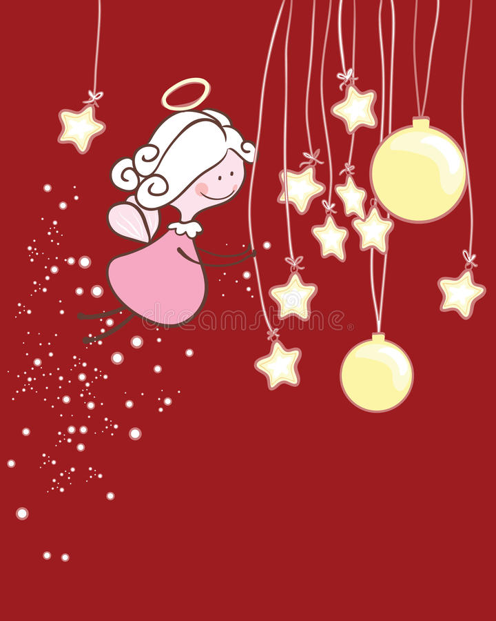 Ángel que juega con los ornamentos de la Navidad ilustración del vector