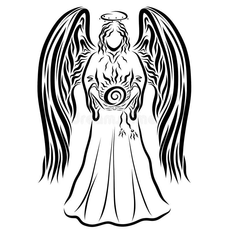 Ángel que lleva el sol brillante, modelo negro stock de ilustración