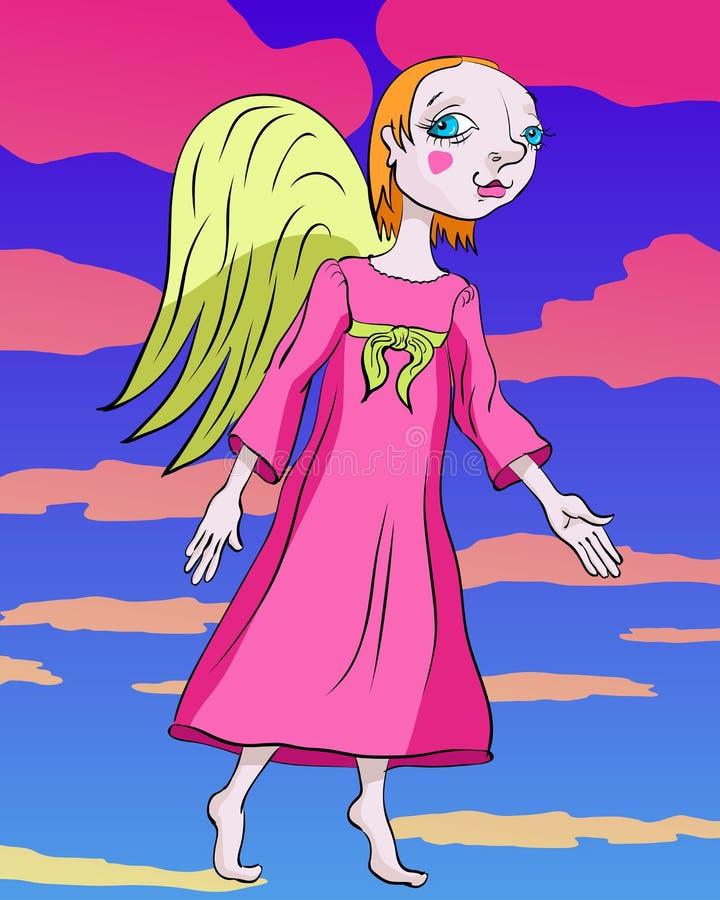 Ángel que se opone en un vestido rosado al contexto del clou rosado fotos de archivo