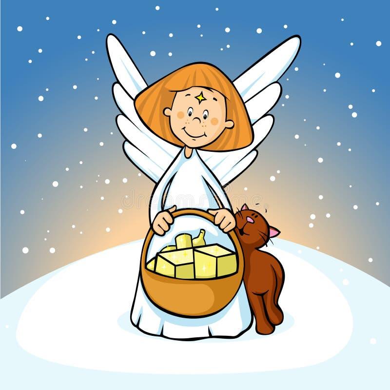 Ángel que sostiene una cesta llena de regalos y de cervatillos del gato en el fondo nevoso - lindo stock de ilustración