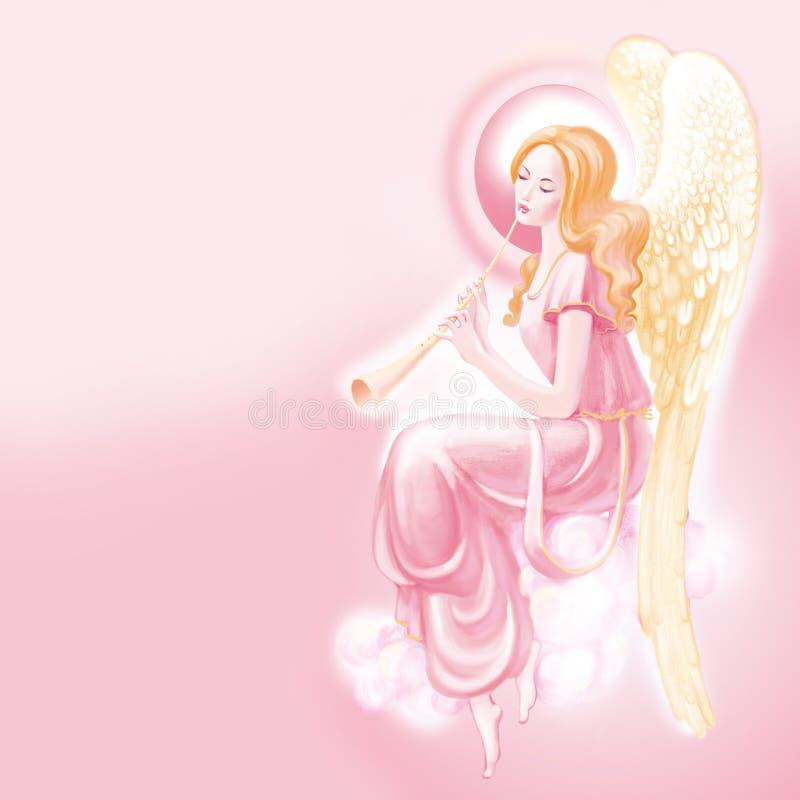 Ángel rosado stock de ilustración