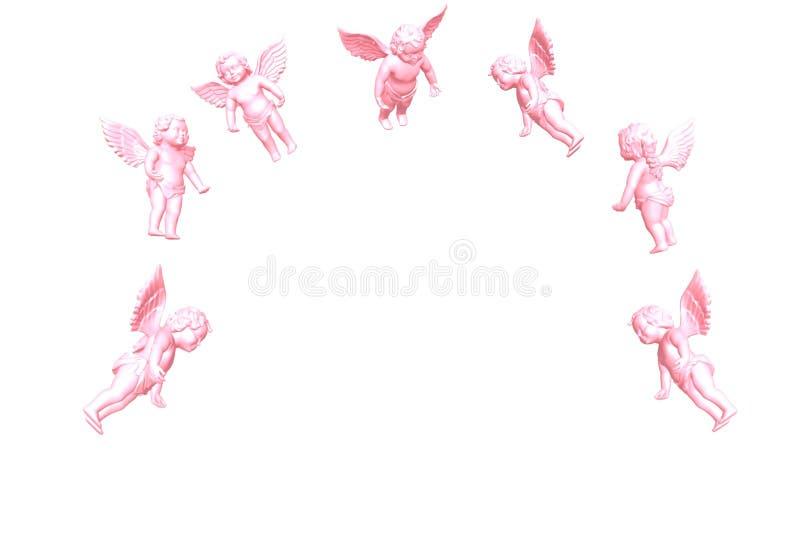 Ángel rosado aislado en 3D blanco stock de ilustración
