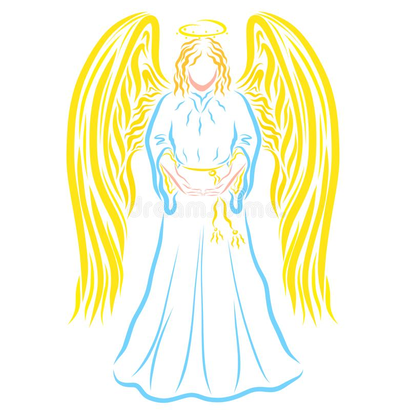 Ángel santo, llevando a cabo algo en sus manos, manos vacías ilustración del vector