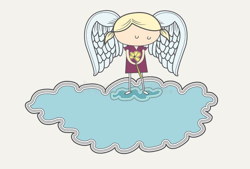 Ángel triste en el luto en la nube ilustración del vector