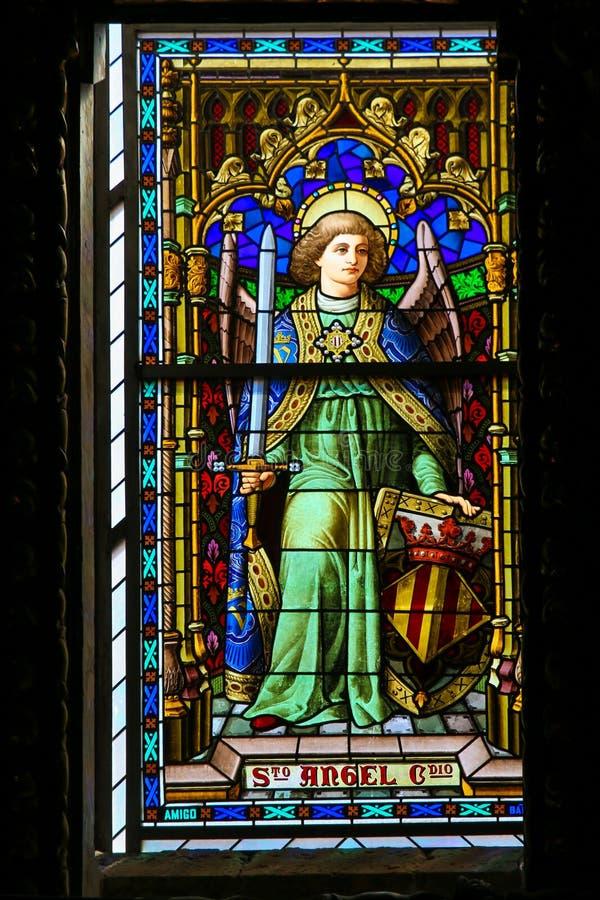 Ángel, vitral, Valencia Cathedral foto de archivo