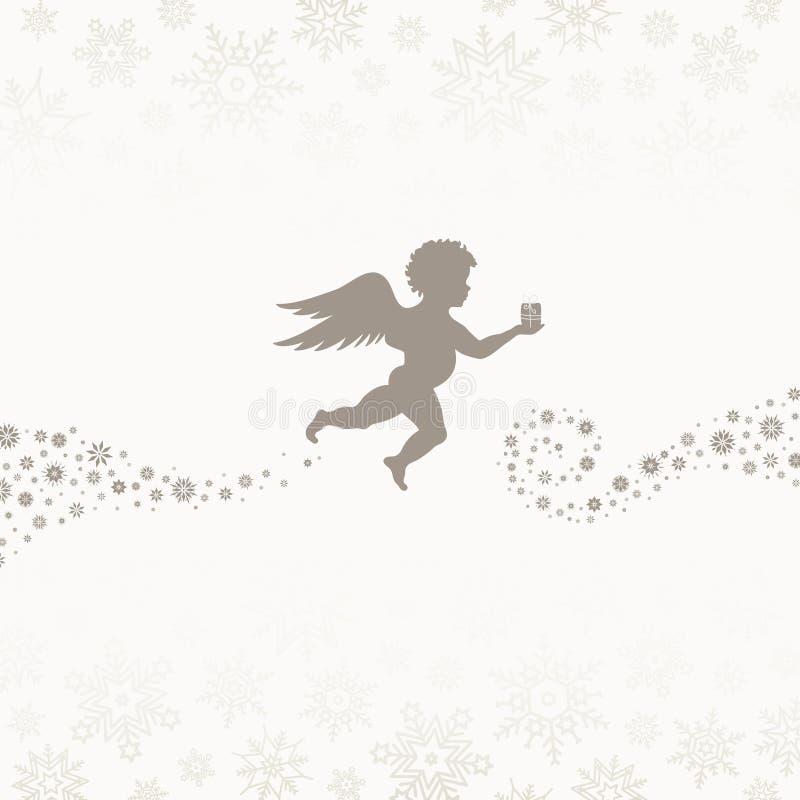 Ángel Volador de Navidad con Snowflakes Beige libre illustration