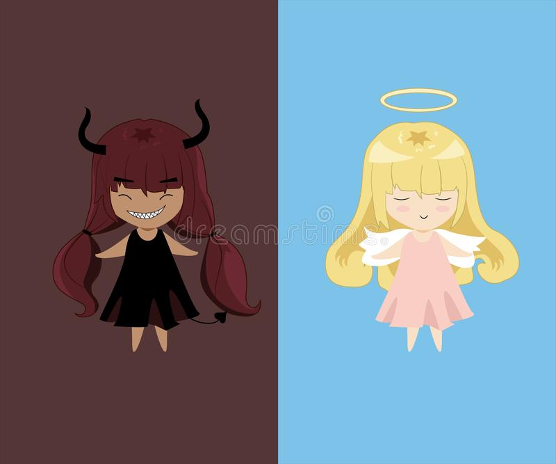 Ángel y carácter del SD del diablo Bueno y malo stock de ilustración