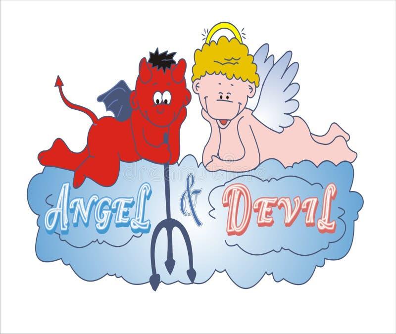 Ángel y diablo que juegan junto en la nube stock de ilustración