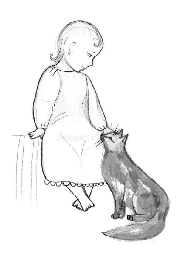 Ángel y gato de la historieta en el fondo blanco Ilustración drenada mano ilustración del vector