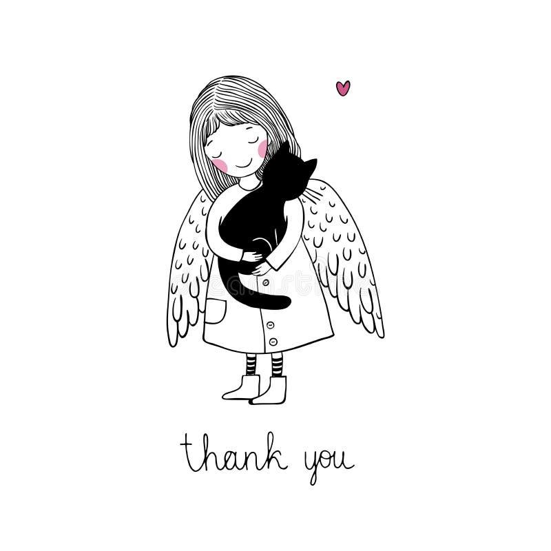 Ángel y gato negro en un fondo blanco libre illustration