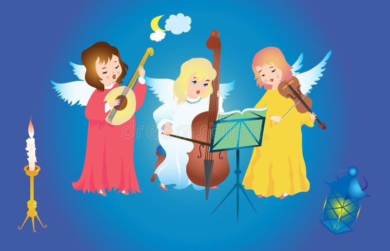Ángeles de la Navidad que cantan ilustración del vector