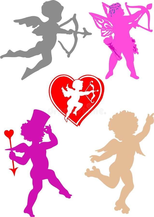 Ángeles de la tarjeta del día de San Valentín del vector stock de ilustración