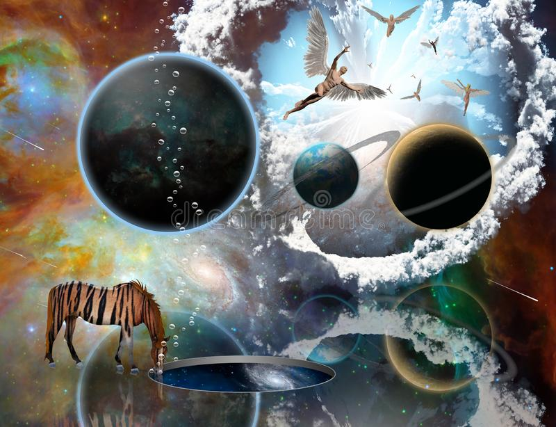 Ángeles en escena surrealista del espacio libre illustration