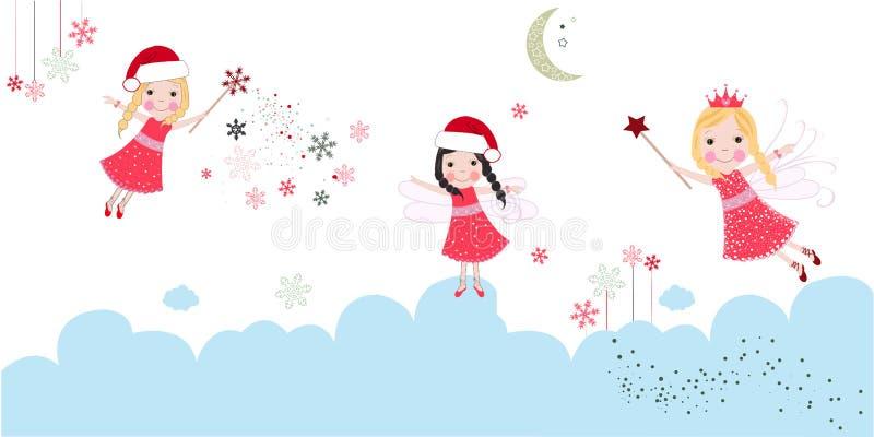 Ángeles lindos de la Navidad Tarjeta de felicitación de la Feliz Navidad stock de ilustración