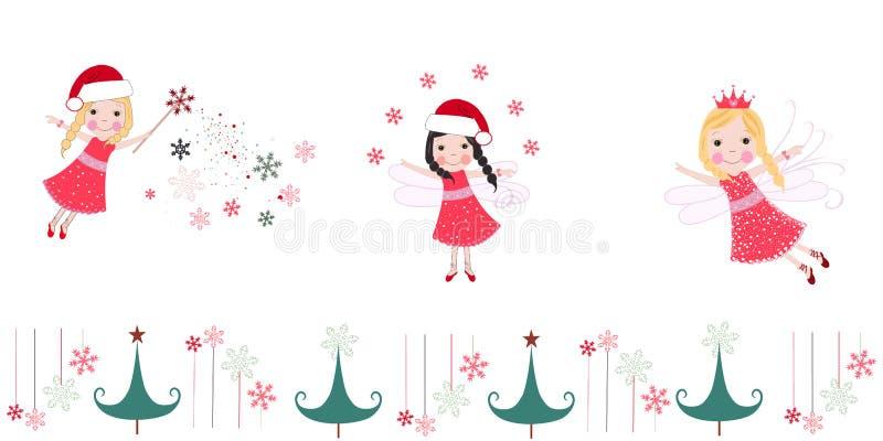 Ángeles lindos de la Navidad Tarjeta de felicitación de la Feliz Navidad ilustración del vector