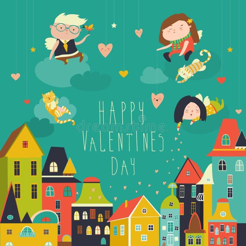 Ángeles lindos que celebran día de tarjetas del día de San Valentín ilustración del vector
