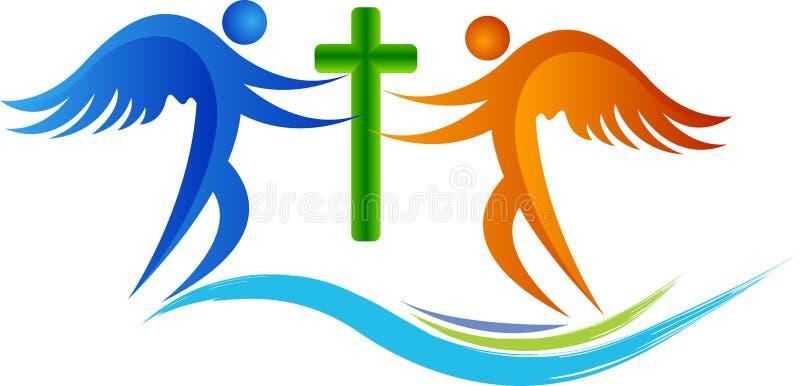 Ángeles que ruegan el logotipo ilustración del vector