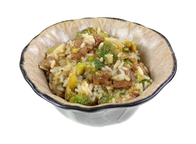 Ángulo del plato de la comida del bróculi del arroz de la carne de vaca fotos de archivo