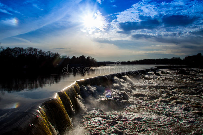 Ángulo lateral de Lowell Waterfall foto de archivo