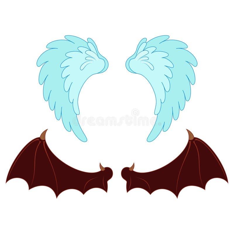 Ángulo y objeto del ala del demonio en estilo de la historieta imagen de archivo libre de regalías