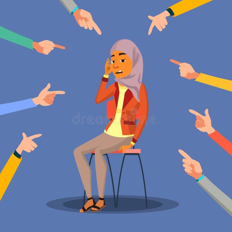Árabe da vítima, vetor da mulher do saudita Na vergonha Culpa na sociedade Cercado pelas mãos com indicadores Ilustração ilustração do vetor