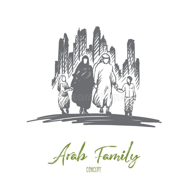 Árabe, familia, musulmán, concepto de la cultura Vector aislado dibujado mano ilustración del vector