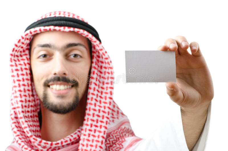 Árabe novo com mensagem em branco imagens de stock