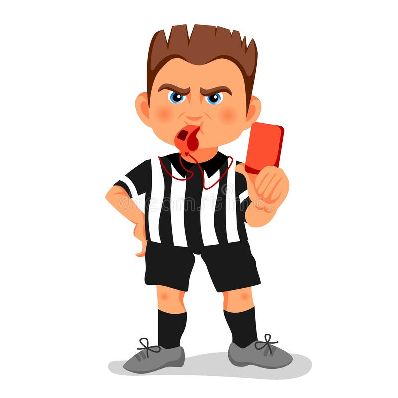 Árbitro de assobio do futebol que mostra o cartão vermelho durante o fósforo, ilustração humana do vetor do caráter Projeto dos d ilustração stock