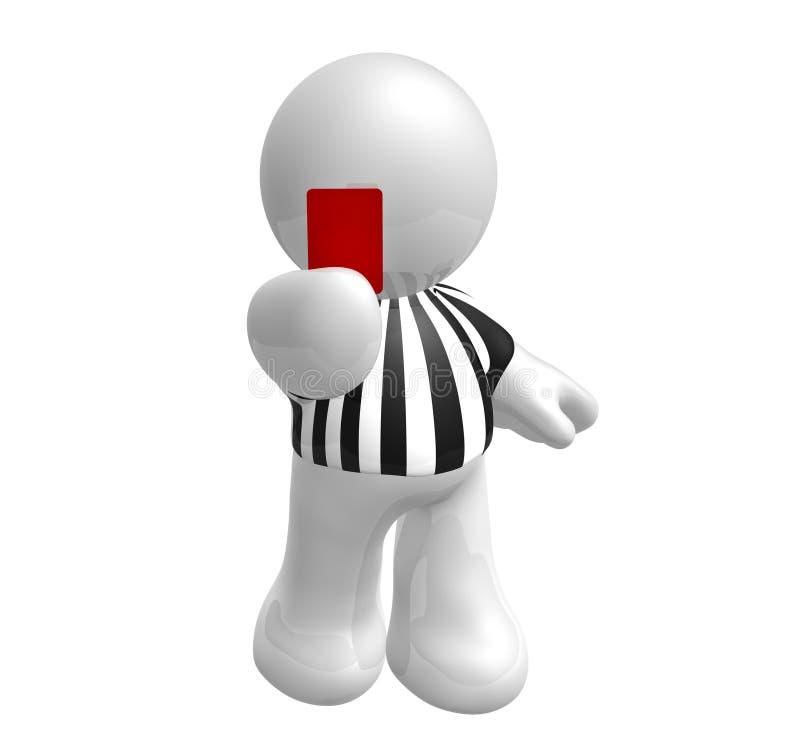 Árbitro do futebol com cartão vermelho ilustração stock