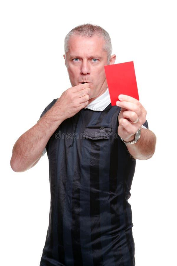 Árbitro do futebol que mostra o cartão vermelho imagem de stock royalty free