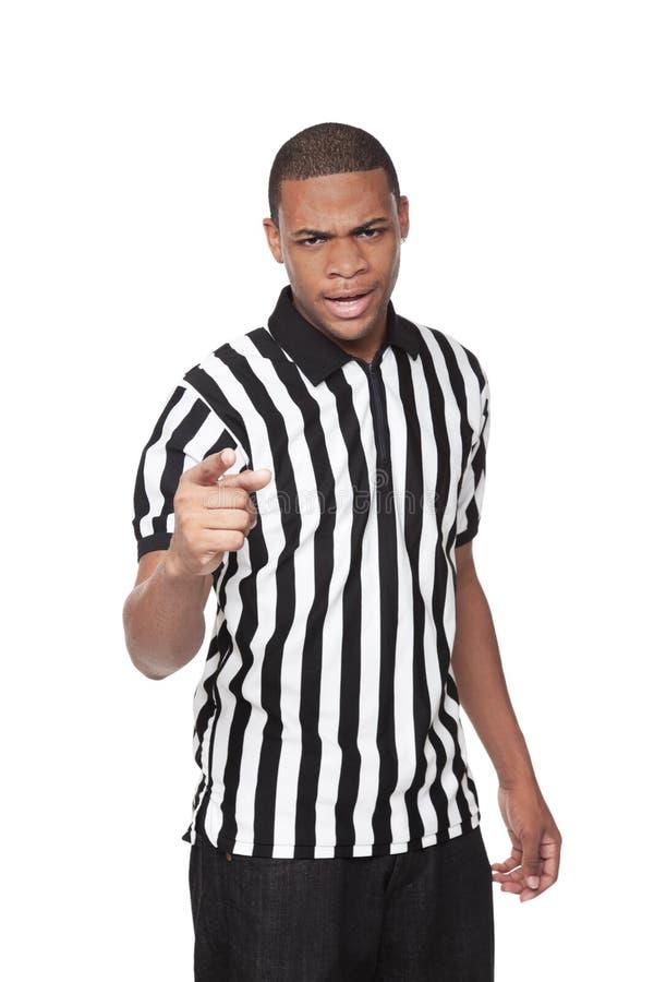 Árbitro - homem do americano africano no uniforme imagens de stock royalty free