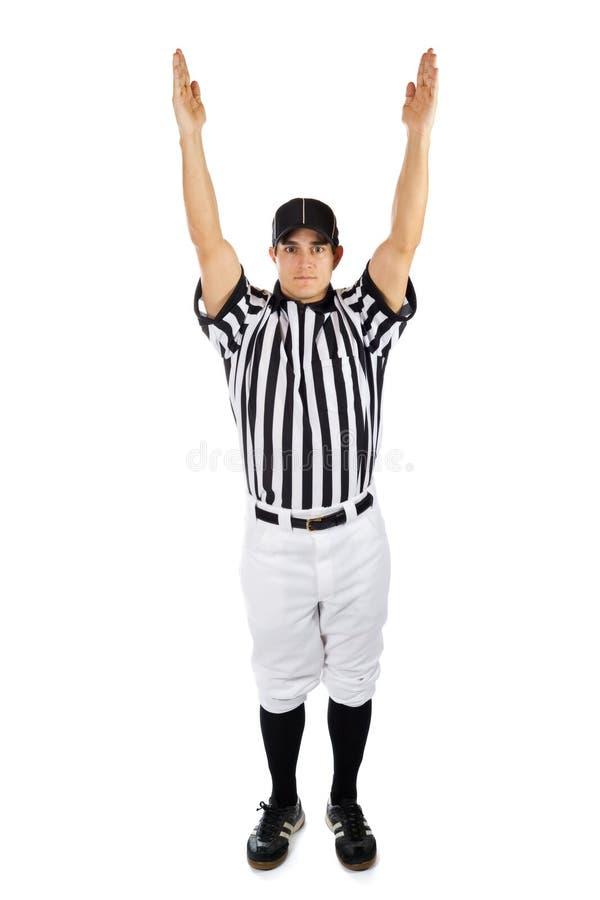 Árbitro: O oficial de futebol sinaliza uma aterrissagem imagens de stock