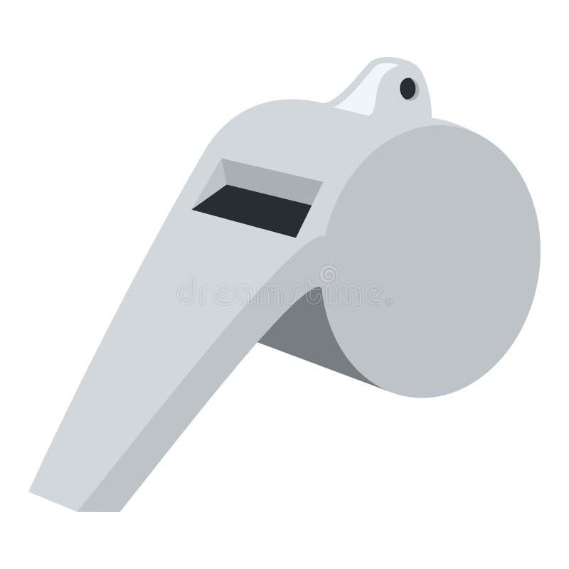 Árbitro Whistle Flat Icon aislado en blanco ilustración del vector