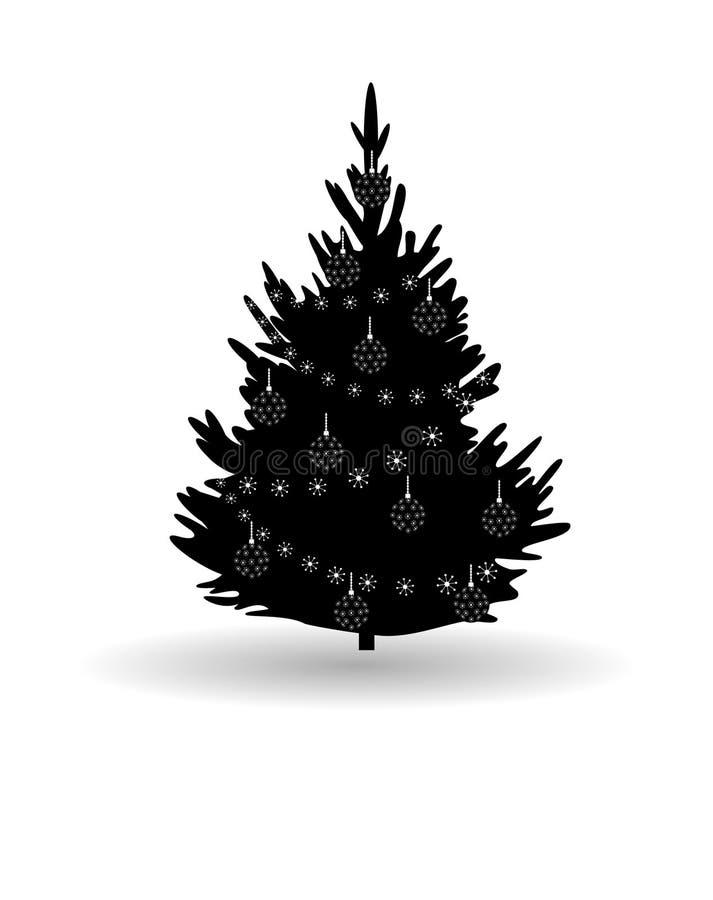 Árbol, árbol de abeto de la Navidad, silueta negra aislada en blanco stock de ilustración