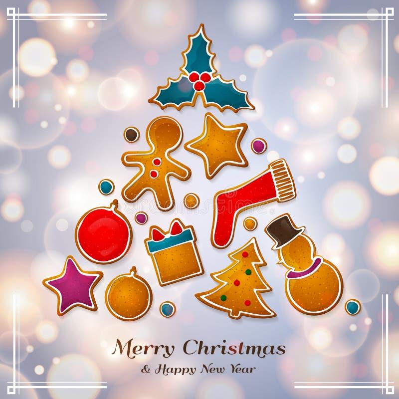 Árbol abstracto de la Navidad hecho de las galletas del pan de jengibre Fondo con las luces del bokeh Vector ilustración del vector
