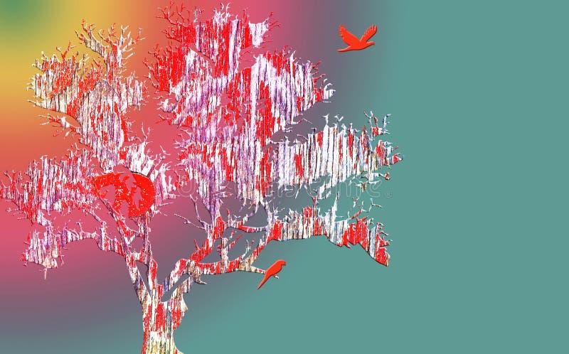 Árbol abstracto de los bonsais contra fondo del arco iris ilustración del vector