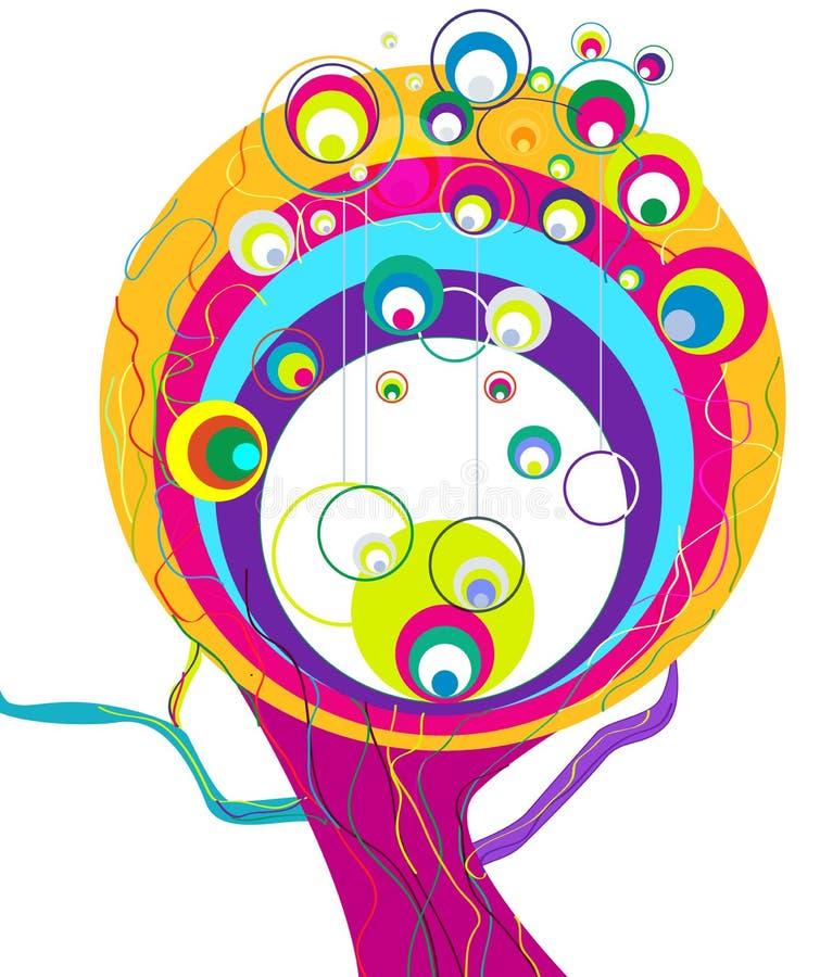 Árbol abstracto del arco iris ilustración del vector