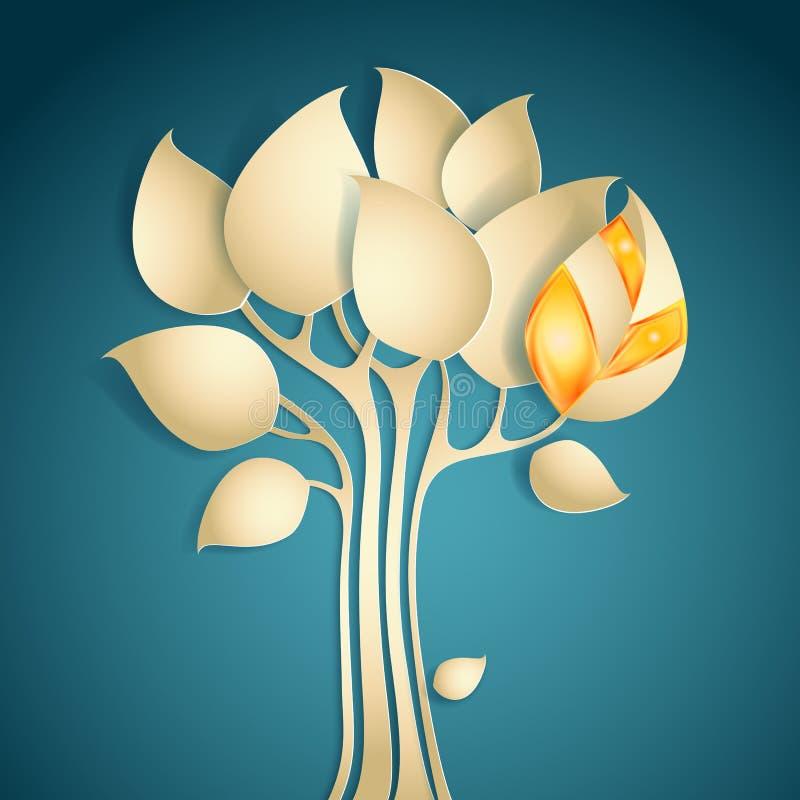 Árbol abstracto del papel del otoño stock de ilustración