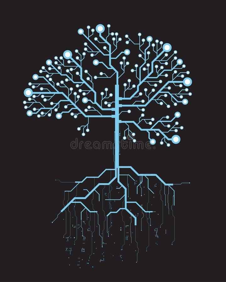 Árbol abstracto, gráfico virtual azul futurista del vector del concepto libre illustration