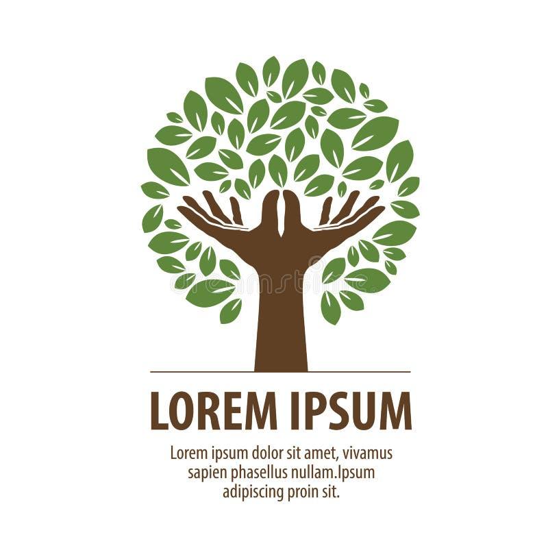 Árbol abstracto hecho de manos y de hojas Logotipo de la naturaleza, ecología Icono, símbolo ilustración del vector