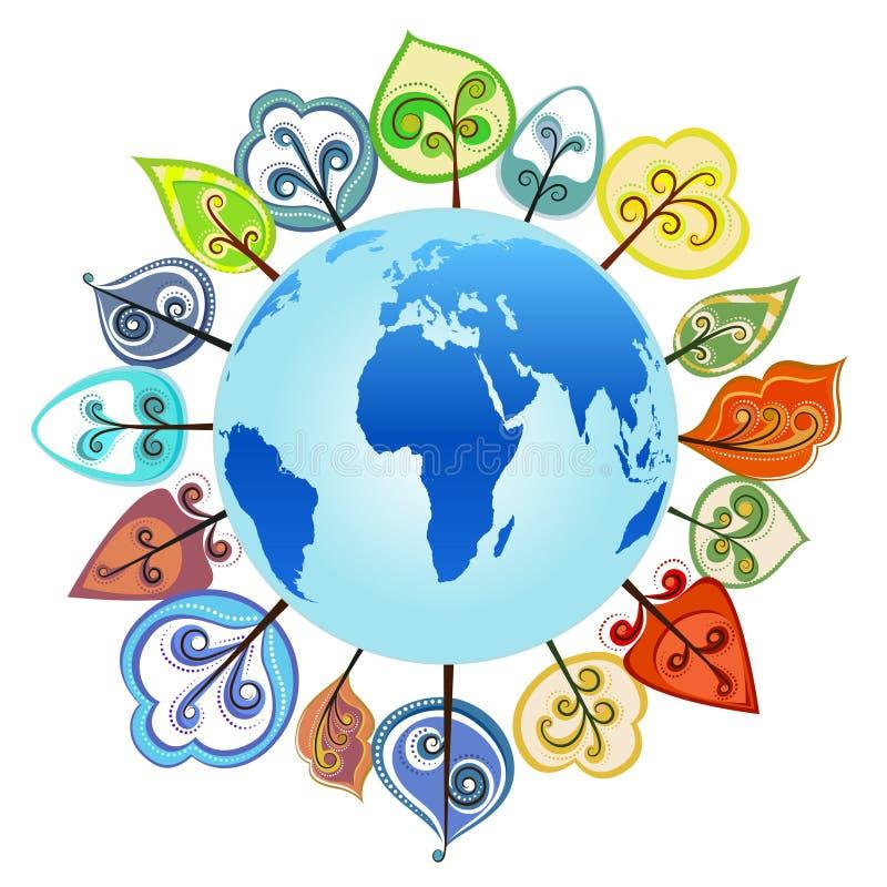 Árbol alrededor del globo   libre illustration