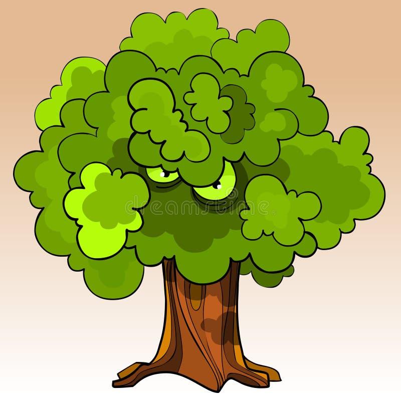 Árbol amenazador de la historieta con los ojos en el follaje verde libre illustration