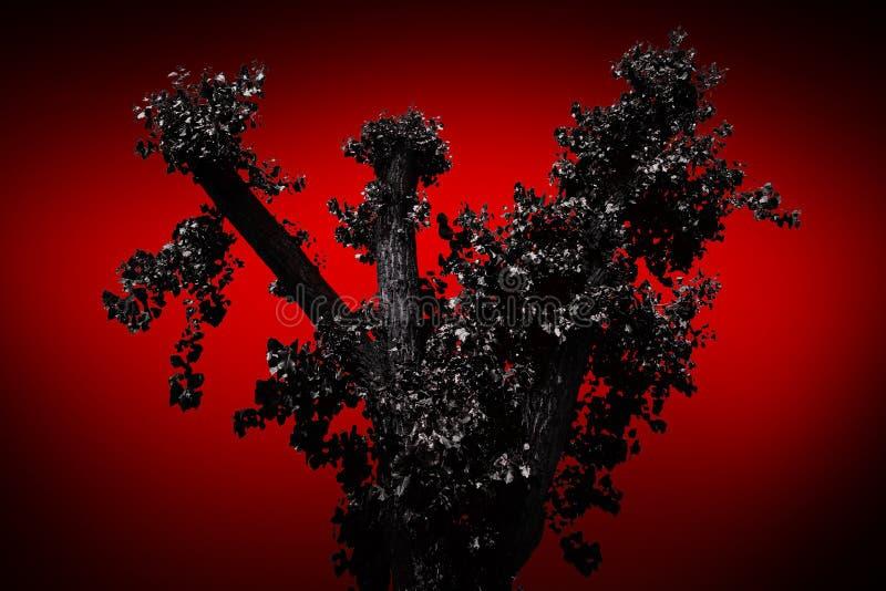 Árbol asustadizo en un fondo rojo foto de archivo libre de regalías
