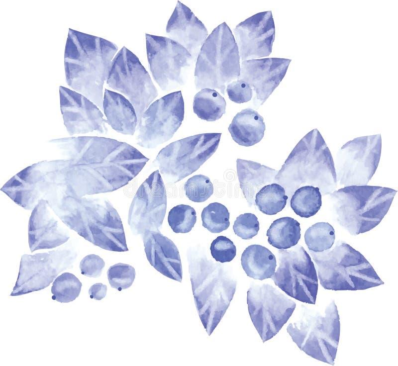 Download Árbol azul de la acuarela ilustración del vector. Ilustración de fondo - 42446372