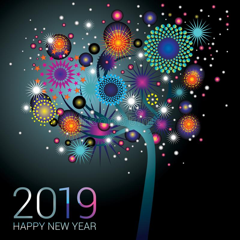 Árbol azul del Año Nuevo con los fuegos artificiales chispeantes en un fondo azul ilustración del vector