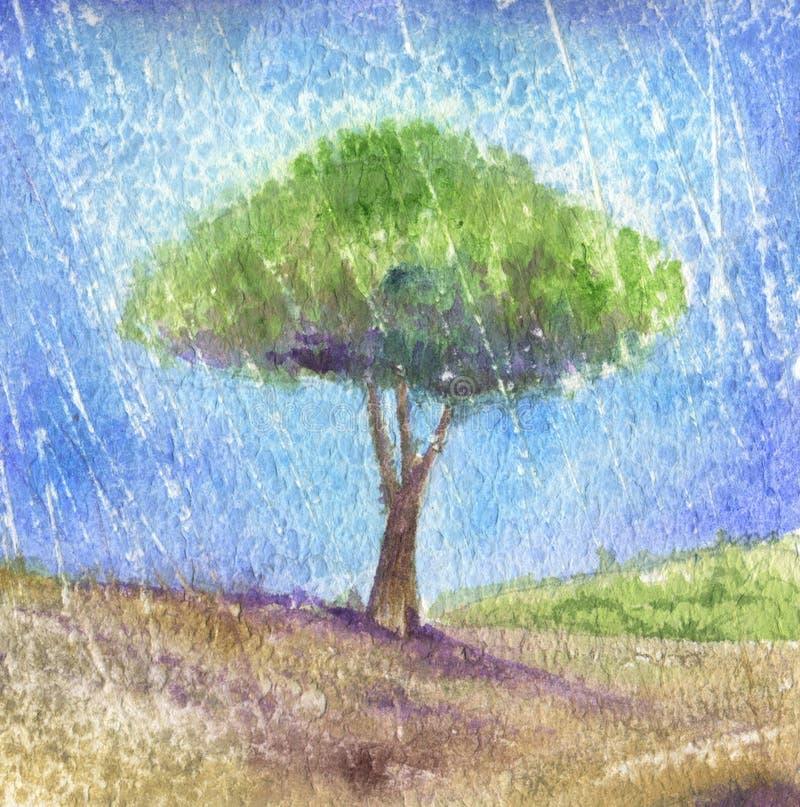 Árbol bajo la lluvia-Acuarela stock de ilustración