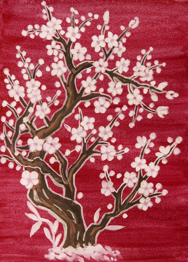 Árbol blanco en el flor, pintando ilustración del vector