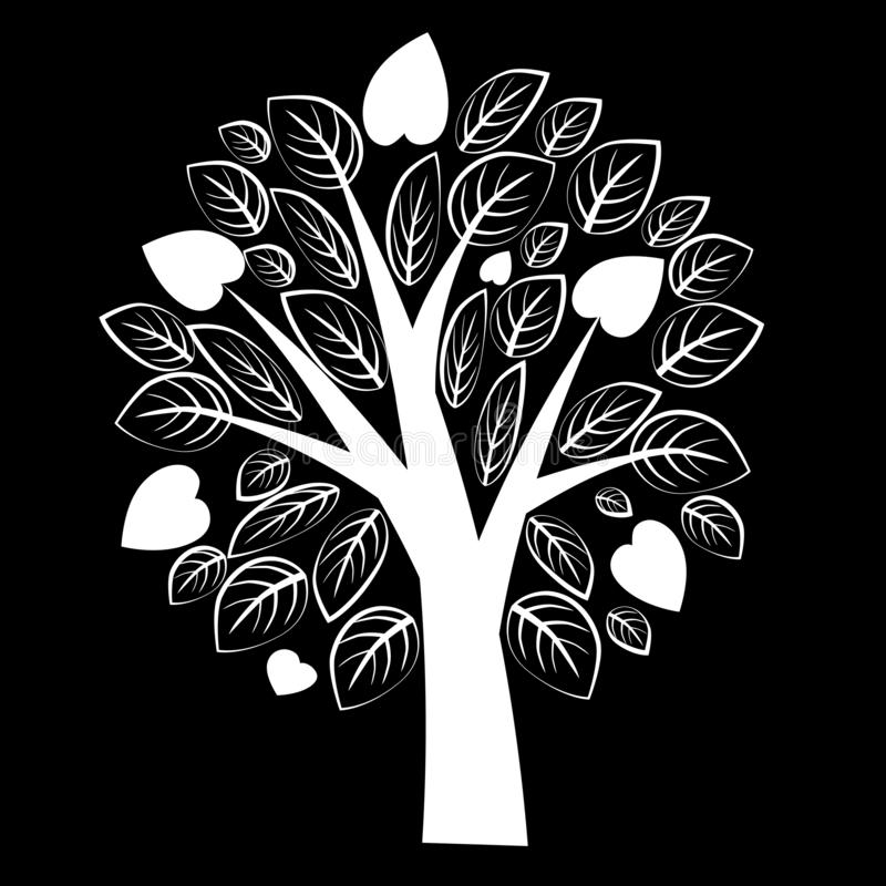 Árbol blanco hermoso con las hojas en fondo negro fotografía de archivo