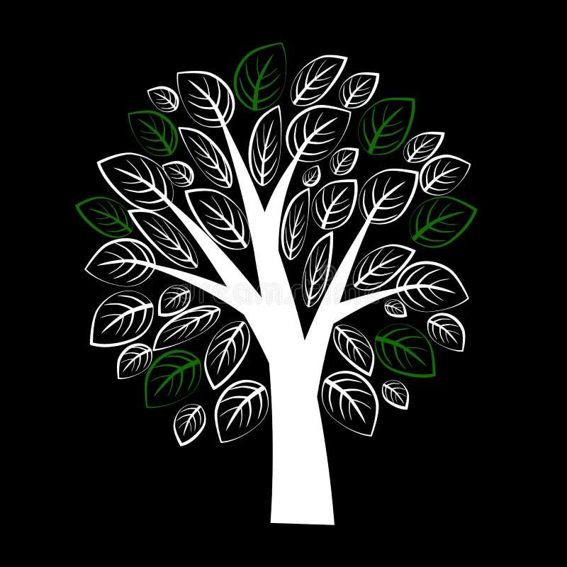 Árbol blanco hermoso con las hojas en fondo negro ilustración del vector