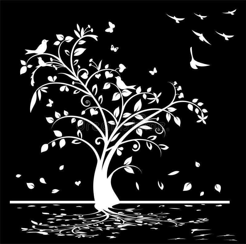 Árbol blanco y negro con los pájaros y las mariposas stock de ilustración
